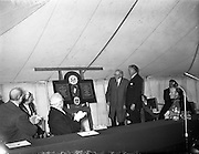19/05/1959<br /> 05/19/1959<br /> 19 May 1959<br /> Opening of Foras Taluntais premises at 33 Merrion Road, Dublin.The new headquarters was officially opened by the President Sean T. O'kelly. During the ceremony a plaque to hang in the building was unveiled commemorating the assistance of the United States to the organisation. Pictured admiring the plaque are (l-r):  An Taoiseach,Eamon de Valera; President Sean T. O'Kelly; Dr J. Carrigan, E.C.A. Administrator; Mr Scott McLeod, U.S. Ambassador and  Archbisiop McQuaid.