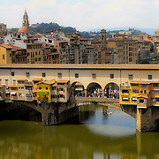 The Ponte Vecchio from the Uffizi Museum in Firenze, Toscana. Italy.
