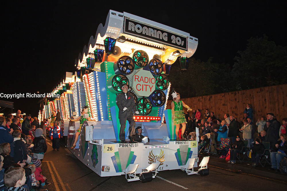 The Roaring 20's, the 2011 carnival entry by Phoenix Carnival Club. Bridgwater Carnival is an annual event to raise money for local charities. It is widely reputed to be the largest illuminated carnival in the world.