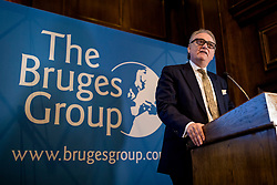 """© Licensed to London News Pictures. 11/03/2019. London, UK. Chairman of the Leave Means Leave campaign John Longworth speaks at a meeting of The Bruges Group, which favours a """"No Deal"""" Brexit. MPs will get a second """"meaningful vote"""" on Prime Minister Theresa May's proposed Brexit deal tomorrow. Photo credit: Rob Pinney/LNP"""