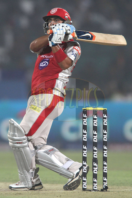 Mandeep Singh of the Kings XI Punjab pulls a delivery to the boundary during match 4 of the the Indian Premier League ( IPL) 2012  between The Rajasthan Royals and the Kings X1 Punjab held at the Sawai Mansingh Stadium in Jaipur on the 6th April 2012..Photo by Shaun Roy/IPL/SPORTZPICS