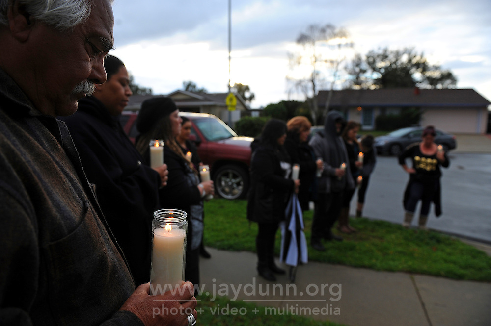 "Family members and friends at Sunday's ""100 Mothers"" vigil in north Salinas for victims of Monterey County violence."