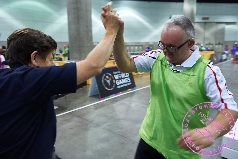 SO Poland athlete Rafal Bednarczyk celebrates victory at bocce competition during seventh day of the Special Olympics World Games Los Angeles 2015 on July 31, 2015 at South Hall of Convention Centre  in Los Angeles, USA.<br /> <br /> USA, Los Angeles, July 31, 2015<br /> <br /> Picture also available in RAW (NEF) or TIFF format on special request.<br /> <br /> For editorial use only. Any commercial or promotional use requires permission.<br /> <br /> Adam Nurkiewicz declares that he has no rights to the image of people at the photographs of his authorship.<br /> <br /> Mandatory credit:<br /> Photo by © Adam Nurkiewicz / Mediasport