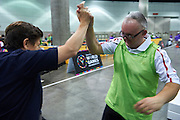 SO Poland athlete Rafal Bednarczyk celebrates victory at bocce competition during seventh day of the Special Olympics World Games Los Angeles 2015 on July 31, 2015 at South Hall of Convention Centre  in Los Angeles, USA.<br /> <br /> USA, Los Angeles, July 31, 2015<br /> <br /> Picture also available in RAW (NEF) or TIFF format on special request.<br /> <br /> For editorial use only. Any commercial or promotional use requires permission.<br /> <br /> Adam Nurkiewicz declares that he has no rights to the image of people at the photographs of his authorship.<br /> <br /> Mandatory credit:<br /> Photo by &copy; Adam Nurkiewicz / Mediasport