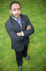 """© Licensed to London News Pictures . 23/05/2014 . Accrington , UK . UKIP candidate for a seat on Hyndburn Council in Accrington , BOBBY ANWAR , who underwent surgery after being attacked in the street prior to the local election on 22nd May 2014 . Lancashire Police reports they are investigating an attack that took place in Accrington on the afternoon of 17th May 2014 which left the victim requiring hospital treatment for a suspected fracture of an eye socket . Mr Anwar reported that both he and his children have suffered physical abuse and that he and his wife have been called """" kafirs """" ( infidels ) . Photo credit : Joel Goodman/LNP"""