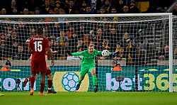 WOLVERHAMPTON, ENGLAND - Monday, January 7, 2019: Liverpool's goalkeeper Simon Mignolet makes a save during the FA Cup 3rd Round match between Wolverhampton Wanderers FC and Liverpool FC at Molineux Stadium. (Pic by David Rawcliffe/Propaganda)