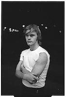 Man at night in Oklahoma City Greyhound station. 1980. Tri-X