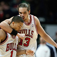 19 December 2009: Chicago Bulls center Joakim Noah celebrates with Chicago Bulls guard Derrick Rose at the end of the Chicago Bulls 101-98 victory in overtime over the Atlanta Hawks at the United Center, in Chicago, Illinois, USA.