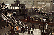 Footbridge linking platforms at Birmingham railway station, England. Postcard c1903. Colour-printed lithograph.