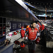 Catcher Yadier Molina, St. Louis Cardinals, heads from the dugout to catch during the New York Mets Vs St. Louis Cardinals MLB regular season baseball game at Citi Field, Queens, New York. USA. 20th May 2015. Photo Tim Clayton