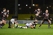 Blair Kinghorn breaks free during the Guinness Pro 14 2017_18 match between Edinburgh Rugby and Ospreys at Myreside Stadium, Edinburgh, Scotland on 4 November 2017. Photo by Kevin Murray.
