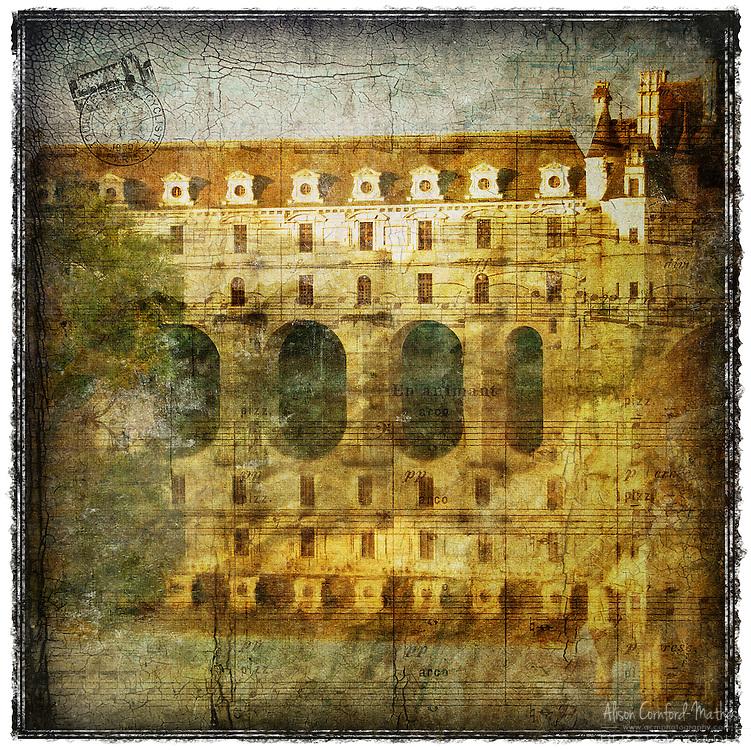 Château de Chenonceau, France - Forgotten Postcard digital art European Travel collage