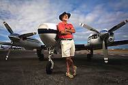 Rick Marshall at Fort Lauderdale Executive Airport,with his Beachcraft twin engine