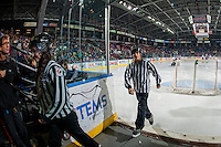 KELOWNA, CANADA - JANUARY 27: BC Hockey referees exit the ice at the Kelowna Rockets against the Kamloops Blazers on January 27, 2017 at Prospera Place in Kelowna, British Columbia, Canada.  (Photo by Marissa Baecker/Shoot the Breeze)  *** Local Caption ***