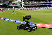 Remote control tv camera the Agito V-Cam Pro patrolling the boundary during the ICC Cricket World Cup 2019 Final match between New Zealand and England at Lord's Cricket Ground, St John's Wood, United Kingdom on 14 July 2019.