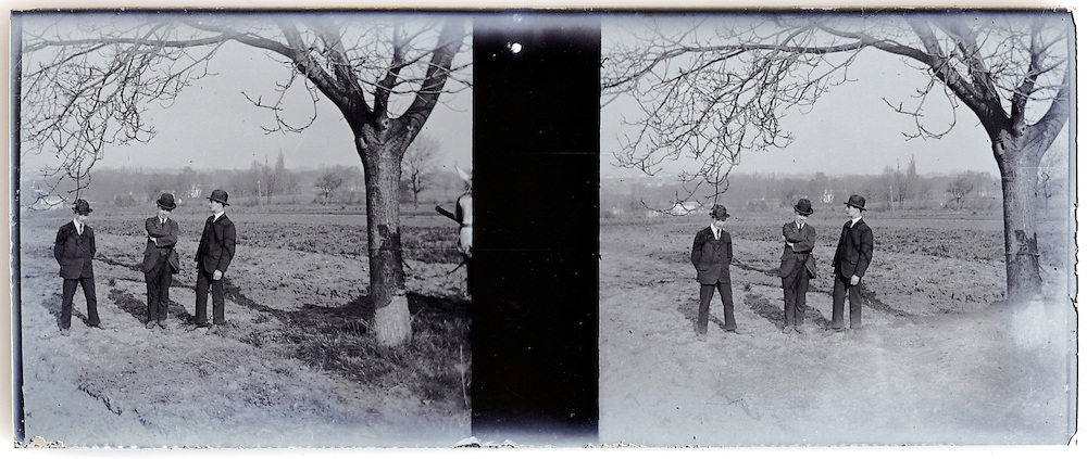 1900s stereo image three men standing outside in rural landscape