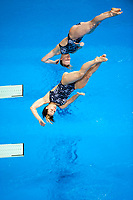 London, England, 12-02-25. Katjo DIECKOW and Nora SUBSCHINSKI (GER) competing in the women's 3m spring board at the 18th FINA Visa World Cup Diving, Olympic Aquatics Centre. Part of the London Prepares Olympic preparations.