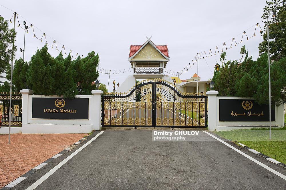 KUALA TERENGGANU, MALAYSIA - SEPTEMBER 01, 2009: Exterior of the entrance gate to the Sultan's Palace (Istana Maziah) in Kuala Terengganu, Malaysia.