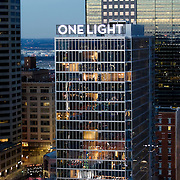 Aerial photography of One Light Tower, a residential highrise property completed in late 2015. Developed by Cordish Company and Kushner Companies. Architecture by Humphreys and Partners. General contractor JE Dunn Construction.