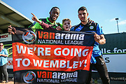 Young FGR fan with Forest Green Rovers Shamir Mullings(18) and Forest Green Rovers Omar Bugiel(11) during the Vanarama National League Play Off second leg match between Forest Green Rovers and Dagenham and Redbridge at the New Lawn, Forest Green, United Kingdom on 7 May 2017. Photo by Shane Healey.