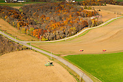 Aerial photograph of corn harvest in rural  Wisconsin.