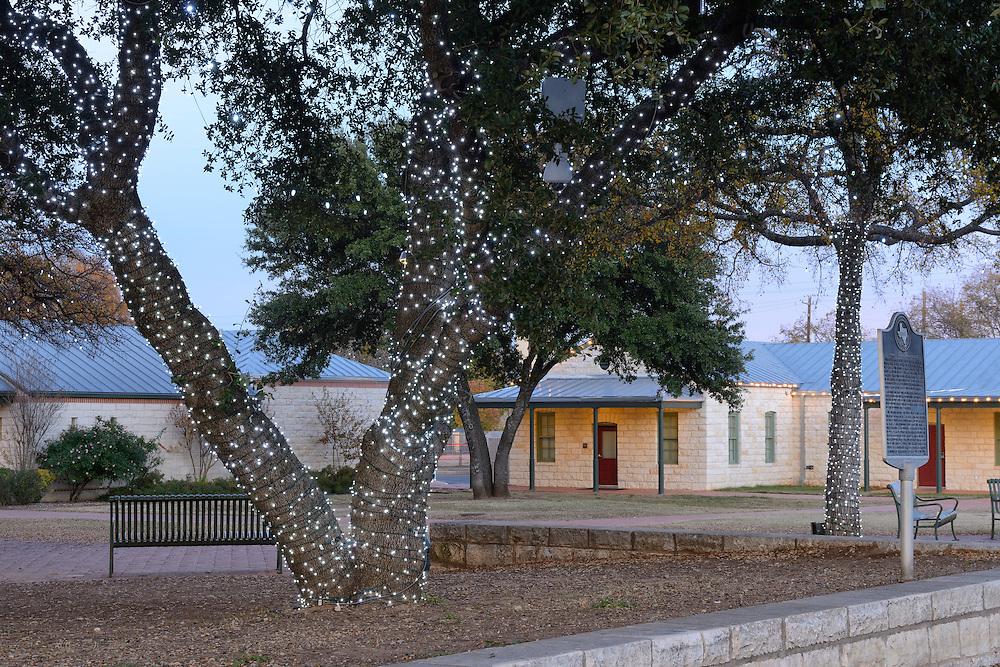 Christmas Lights on town square,Fredericksburg,Hill Country,Texas,USA