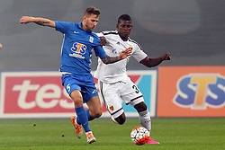 29.07.2015, INEA Stadion, Poznan, POL, UEFA CL, Lech Poznan vs FC Basel, Qualifikation, 3. Runde, Hinspiel, im Bild (L) TAMAS KADAR (P) BREEL EMBOLO // during the UEFA Champions League Qualifier, third round, first Leg match between Lech Posen and FC Basel at the INEA Stadion in Poznan, Poland on 2015/07/29. EXPA Pictures © 2015, PhotoCredit: EXPA/ Newspix/ Wojciech Klepka<br /> <br /> *****ATTENTION - for AUT, SLO, CRO, SRB, BIH, MAZ, TUR, SUI, SWE only*****