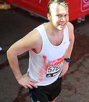 A runner end the race with bleeding nipples<br /> The Virgin Money London Marathon 2014<br /> 13 April 2014<br /> Photo: Javier Garcia/Virgin Money London Marathon<br /> media@london-marathon.co.uk