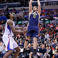 01 February 2014: Utah Jazz center Enes Kanter (0) takes jumpshot over Los Angeles Clippers center DeAndre Jordan (6) during the Los Angeles Clippers 102-87 victory over the Utah Jazz at the Staples Center, Los Angeles, California, USA.