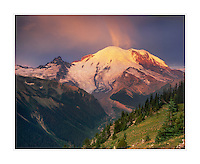 Sunrise on Mount Rainier 14,411 ft (4,392 m) from Yakima Park, Mount Rainier National Park Washington USA