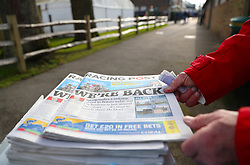 Issues of the Racing Post during Injured Jockeys Fund Charity Raceday at Plumpton Racecourse.