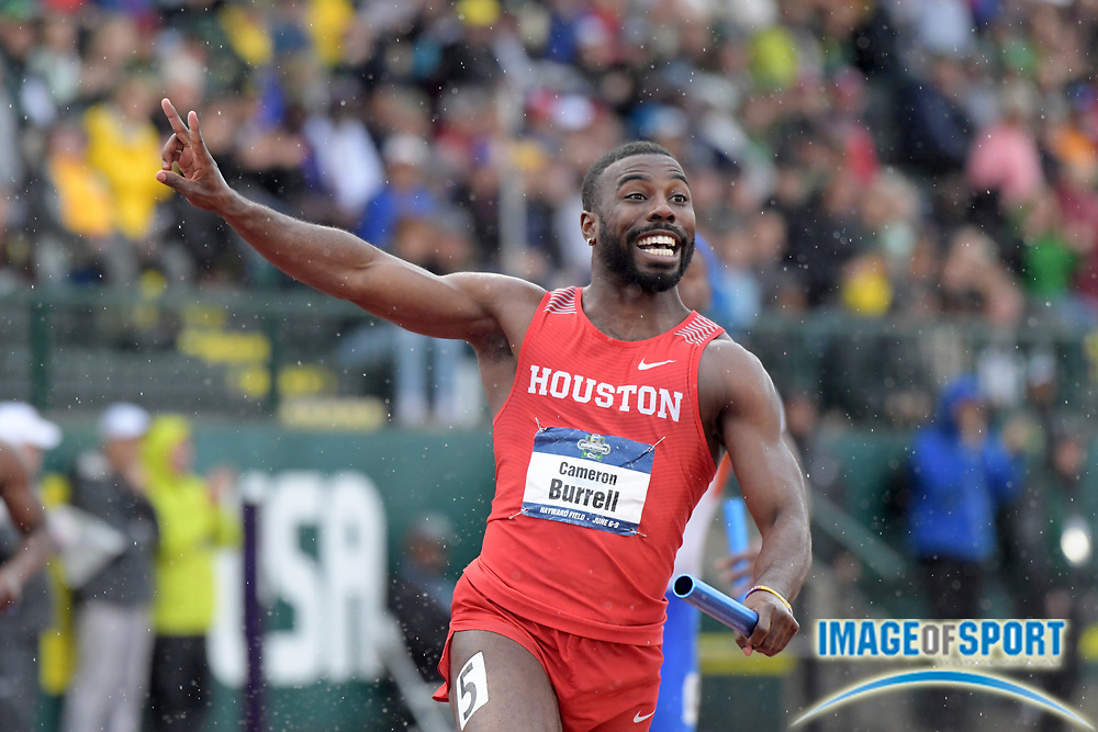 Jun 8, 2018; Eugene, OR, USA; Cameron Burrell celebrates after running the anchor leg on the Houston Cougars 4 x 100m relay that won in a collegiate record 38.17 during the NCAA Track and Field championships at Hayward Field.