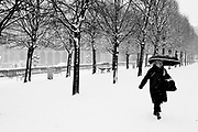 Paris, France. December 17th 2009..Snow Storm in Paris..Jardin des Tuileries (1st Arrondissement)