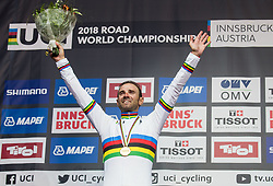 Podium / Alejandro Valverde of Spain Gold Medal / Celebration / during the Men Elite Road Race a 258.5km Race from Kufstein to Innsbruck 582m at the 91st UCI Road World Championships 2018 / RR / RWC / on September 30, 2018 in Innsbruck, Austria. Photo by Vid Ponikvar / Sportida