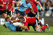 Luke Romano tackled. NSW Waratahs v Canterbury Crusaders. Sport Rugby Union Super Rugby Representative Provincial. ANZ Stadium. 23 May 2015. Photo by Paul Seiser/SPA Images
