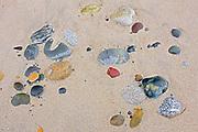 Rocks and sand on Agate Beach.  Naikoon Provincial Park. Graham Island. , Haida Gwaii (formerly the Queen Charlotte Islands), British Columbia, Canada