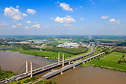 Nederland, Gelderland, Gemeente Zaltbommel, 27-05-2013; Martinus Nijhofbrug (A2) over de Waal bij Zaltbommel (in de achtergrond).<br /> Martinus Nijhof bridge crossing river Waal (Rhine) near Zaltbommel.<br /> luchtfoto (toeslag op standard tarieven)<br /> aerial photo (additional fee required)<br /> copyright foto/photo Siebe Swart