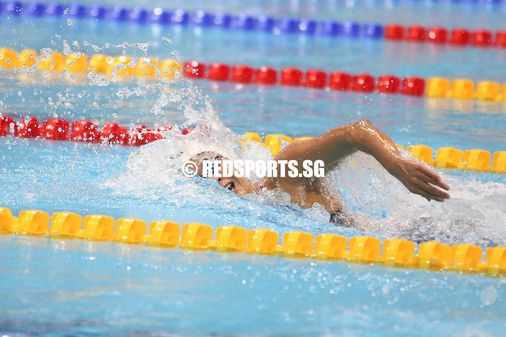 Quah Ting Wen in action during her 100m freestyle event. She finished first in the open category with a timing of 55.52, rewriting her own meet record of 56.11 set last year and meeting the B qualifying cut for Rio Olympics. (Photo © Chua Kai Yun/Red Sports)