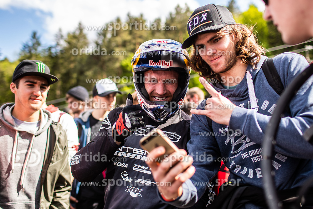 Aaron Gwin of USA taking a photo with a fan after Mercedes-Benz UCI Mountain Bike World Cup competition final day in Bike Park Pohorje, Maribor on 28th of April, 2019, Slovenia.  . Photo by Grega Valancic / Sportida