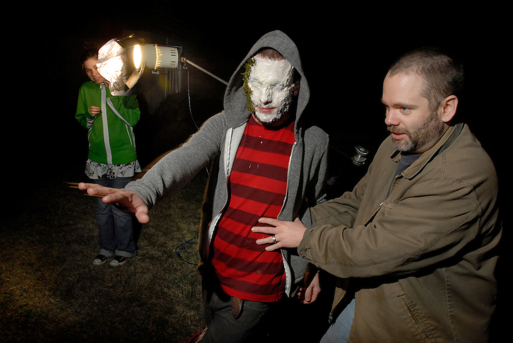 """Christopher Calcagni is helped to the set by director Richard Griffin. """"The Dunwich Horror"""" Writer/Director Richard Griffin's new indie horror movie inspired by the Novella by H.P. Lovecraft."""