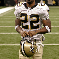 August 21, 2010; New Orleans, LA, USA; New Orleans Saints cornerback Tracy Porter (22) walks off the field following a 38-20 win by the New Orleans Saints over the Houston Texans during a preseason game at the Louisiana Superdome. Mandatory Credit: Derick E. Hingle