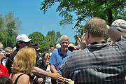 May 28: Former President Bill Clinton poses for a photo after the Memorial Day parade in his hometown of Chappaqua, New York.