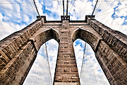 Close-up on the archs of a pillar of the Brooklyn Bridge, New York, 2010.