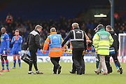 Aaron Amadi-Holloway of Oldham Athletic being stretchered off following an injury during the Sky Bet League 1 match between Oldham Athletic and Chesterfield at Boundary Park, Oldham, England on 28 March 2016. Photo by Simon Brady.
