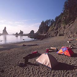 Camping Alongside the Pacific Ocean at Shi Shi Beach, Olympic National Park, Washington, US