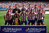 Atletico de Madrid´s initial players before 2013-14 La Liga Atletico de Madrid V Espanyol match at Vicente Calderon stadium in Madrid, Spain. October 19, 2014. (ALTERPHOTOS/Victor Blanco)