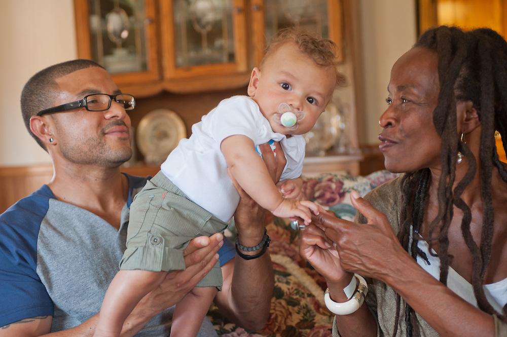 three generations: grandmother,son,grandson