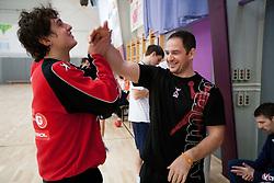 Matevz Skok and Sokol Kadrija during practice session of Slovenian Handball Men National Team, on January 11, 2011, in Zrece, Slovenia. (Photo by Vid Ponikvar / Sportida)