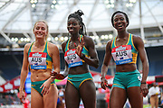 7th placed Australia, after the Women's 4x100m Relay during the Muller Anniversary Games 2019 at the London Stadium, London, England on 20 July 2019.