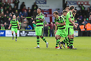 Forest Green Rovers Keanu Marsh-Brown(7) and his team mates celebrating a goal, 2-0 during the Vanarama National League match between Forest Green Rovers and Lincoln City at the New Lawn, Forest Green, United Kingdom on 19 November 2016. Photo by Shane Healey.